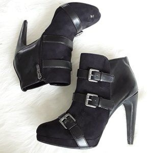 Sam & Libby black high heeled buckle ankle boots 8